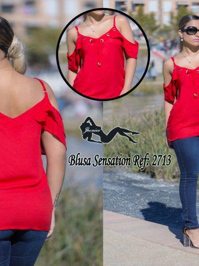 Blusa roja hombros al aire 2713